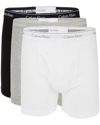 Calvin Klein Men's 3-pack Logo Cotton Boxer Briefs - White - Size M