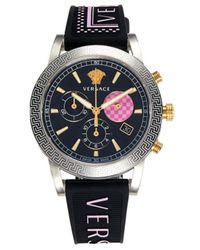 Versace Women's Stainless Steel & Silicone-strap Watch - Black