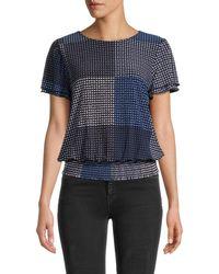 Tommy Hilfiger Women's Printed Smocked-waist Blouson Top - Midnight - Size Xs - Blue