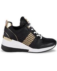 MICHAEL Michael Kors Women's Georgie Leather & Metallic Wedge Sneakers - Black Gold - Size 6