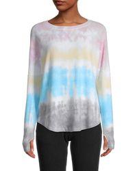Sweet Romeo Women's Rainbow Striped Thumbhole Top - Rainbow - Size Xs - Multicolour