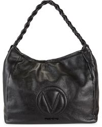 Valentino By Mario Valentino Braided-strap Leather Hobo Bag - Black