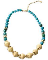 Akola Sobaida Goldtone, Cow Bone, Recycled Glass & Raffia Beaded Necklace - Blue