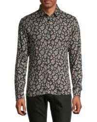 The Kooples Men's Paisley-print Long-sleeve Shirt - Navy - Size S - Blue