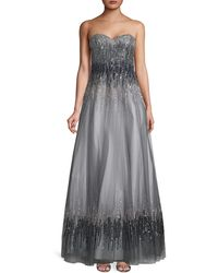 Basix Black Label Strapless Ombré Sequin Ball Gown - Grey