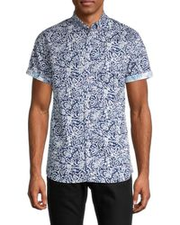 Report Collection Aztec Regular-fit Abstract-print Shirt - Blue