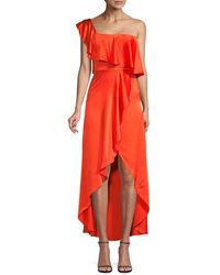 Alexis Ruffled Silk High-low Dress - Red