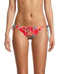 Love Moschino Print String Bikini Bottom - Red