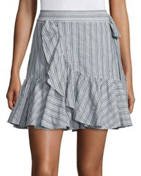 Rebecca Taylor Striped Wool Blend Skirt - Blue
