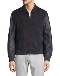 Saks Fifth Avenue - Leather Bomber Jacket - Lyst