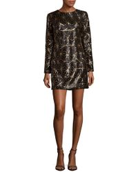 Dress the Population - Bailey Long-sleeve Textured Dress - Lyst