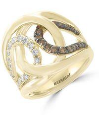 Effy - Final Call Diamond, Espresso Diamond And 14k Yellow Gold Ring - Lyst