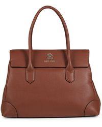 Roberto Cavalli Flap Leather Satchel - Brown