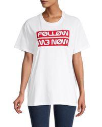 RED Valentino Women's Drop-shoulder Slogan T-shirt - White - Size M