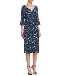David Meister - Floral Bell Sleeve Dress - Lyst