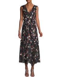 Marissa Webb Viola Floral-print Ruffle Dress - Black