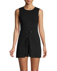 BCBGeneration Sleeveless Lace-up Romper - Black