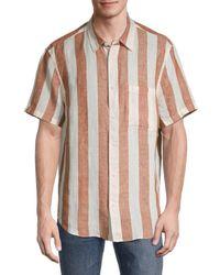 Madewell Striped Short-sleeve Linen Shirt - Pink