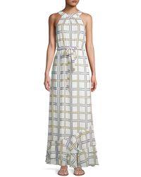 Calvin Klein - Women's Self-tie Grid-print Maxi Dress - Soft White - Size 2 - Lyst