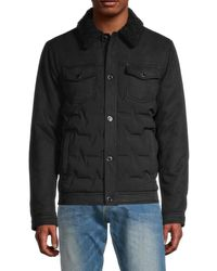 Karl Lagerfeld Quilted Faux Fur-collar Jacket - Black