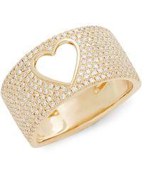 Saks Fifth Avenue 14k Yellow Gold & Diamond Heart Band Ring - Metallic