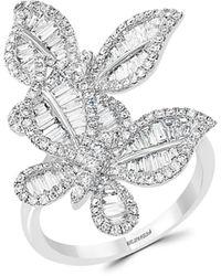 Effy 14k White Gold & Diamond Butterfly Ring - Metallic
