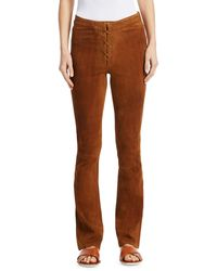 FRAME Lace-up High Mini Boot Suede Trousers - Brown