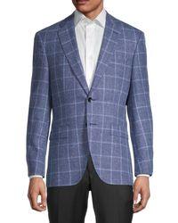 BOSS by HUGO BOSS Phoenix Regular-fit Windowpane Virgin Wool & Linen Jacket - Blue