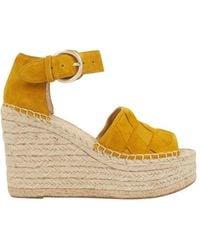 Marc Fisher Women's Adalla Basketweave Suede Platform Wedge Sandals - Light Pink - Size 9.5