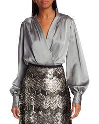 Elie Tahari Cassia Faux Wrap Silk Shirt - Grey