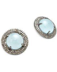 Bavna - Pave Diamonds & Aquamarine Stud Earrings - Lyst