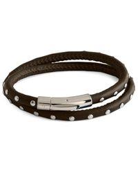 Tateossian Men's Stainless Steel & Leather Studded Wrap Bracelet - Brown