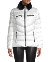 Karl Lagerfeld Faux Fur Collar Puff Jacket - White
