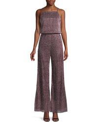 Cupcakes And Cashmere Metallic Wide-leg Blouson Jumpsuit - Purple