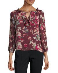 Joie - Floral-print Silk Blouse - Lyst