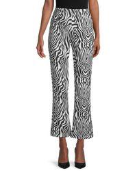 Wdny Zebra-print Flared-leg Trousers - Black