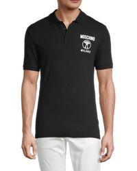 Moschino ! Logo Cotton-blend Polo - Black