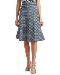 Michael Kors Women's Tattersall Stretch-wool Midi Skirt - Midnight - Size 8 - Blue