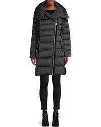 Tahari Brooklyn Asymmetrical-zip Down Puffer Coat - Grey