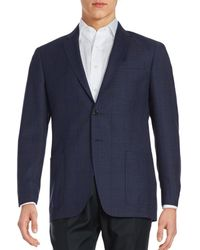 Todd Synder X Champion Men's Windowpane Wool Suit Jacket - Navy - Size 36 R - Blue