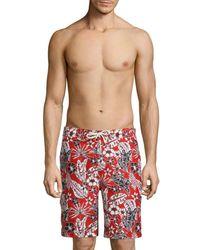 Tommy Bahama Baja Forte Floral-print Swim Trunks - Red