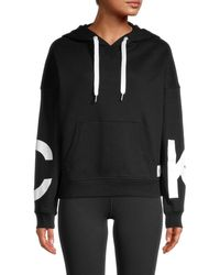 Calvin Klein Women's Graphic Cotton-blend Hoodie - White - Size Xl