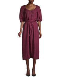 Mansur Gavriel Women's Puff-sleeve Linen Peasant Dress - Wine - Size S - Purple