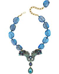 Heidi Daus Crystal & Rhinestone Glass Beaded Elephant Pendant Necklace - Blue
