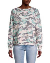 Wildfox Women's Butterflies & Camo Sweatshirt - Size Xs - Grey
