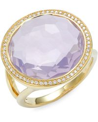 Ippolita Lollipop 18k Yellow Gold, Lavender Quartz & Diamond Ring - Metallic