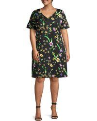 ABS By Allen Schwartz - Plus Floral-print Shift Dress - Lyst