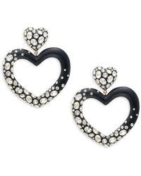 Alexis Bittar Lucite & Crystal Heart Drop Earrings - Metallic