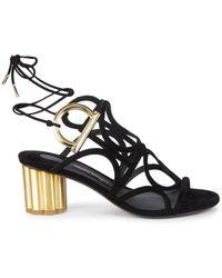 Ferragamo Women's Vinci Suede Sandals - Nero - Size 6 W - Black