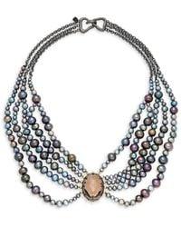 Alexis Bittar 10k Gunmetal-plated, 10k Goldplated, Crystal & Faux Pearl Bib Necklace - Metallic